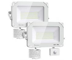 Onforu 2 Pezzi 60W Faretto con Sensore di Movimento, IP66 Impermeabile Faro LED Esterno con Sensore, 6600LM 5000K Bianca Faretti LED per Giardino, Corridoio, Terrazza, Patio