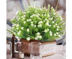 Passion-Pni Piante Artificiali - Prato Verde Artificiale Baby Breathing False Starry Arbusto Wedding Center Tavolo Flower Bouquet (10 Pezzi)