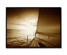 105 x 75 cm quadro da parete, colore seppia - su Tela inkusive ombra fughe telaio Nero - Barca a vela giornata