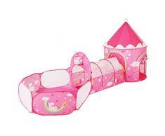 SONGMICS Tenda da Gioco 3 in 1, Tenda Pop Up per Bambini, con Casetta Tunnel e Piscina di Palline, a Tema Unicorno, Idea Regalo per Compleanno, Rosa LPT701P01