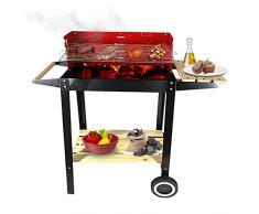 Barbecue a carbonella, da terrazzo, giardino o balcone, barbecue americano con griglia in acciaio inox, kit grigliata barbecue portatile con ruote, 83 x 28 x 83 cm