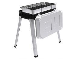 Barbecue Carbone Portatile, Griglia Barbecue BBQ in Acciaio Inox, Barbeque a Carbonella Giardino Balcone Picnic Allaperto Campeggio