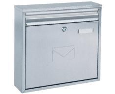 Rottner cassetta postale Teramo Inox, in acciaio inossidabile, con 2 feritoie, targhetta portanome, goffratura sullo sportello e serratura a cilindro di colore inox.
