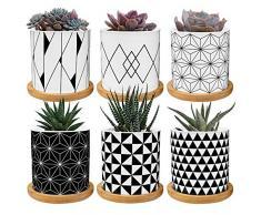 Vasi per piante succulente, vaso piccolo con fori di drenaggio e piattini, mini vasi per piante da 2,8 pollici per piante succulente, 6 confezioni