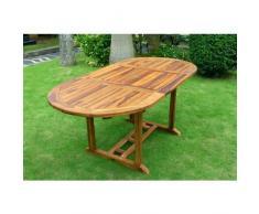 Tavolo ovale da giardino in teak oliato con prolunga a farfalla: 120-180 x 90 cm