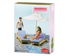 Lundby 60.9048.00 - lettino e ombrellone, mini bambola con accessori