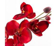 Rametto di orchidea artificiale Phalaenopsis in fibra tessile, rosso, 80 cm - Orchidea finta / Fiore artificiale - artplants