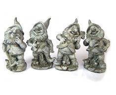 4 Nani, Gnome. poliresina. Nani da giardino grigio strutturata. 17 cm