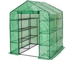 TecTake Serra da giardino in acciaio e PVC per piante con scaffali 143x143x195cm