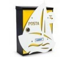 Cassetta postale personalizzata Barca a vela (giallo)