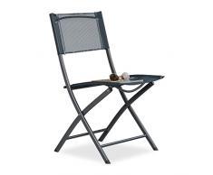Relaxdays 10020943 Sedia Pieghevole da Balcone Metallo Plastica Seduta da Giardino HxLxP: 87 x 55 x 48,5 cm, Grigio Antracite