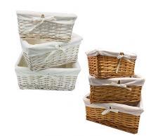 Ausuky, cestino rettangolare in vimini, realizzato a mano, in rattan, contenitore per pane e frutta, Marrone, small