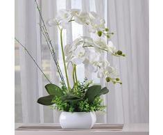 Fiori artificiali SCFLOWER Orchidee In Plastica Ceramica Vasi Di Fiori Fiori Finti Bundle Home Wedding Decorazione Regali White