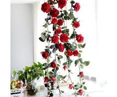 Fiori artificiali, artificiale rosa vite, elemento singolo 180 cm rosa vite fiore decorativo per fiori casa Emulational pianta artificiale per wedding-ideal decorazione per matrimoni, festival, feste, abitazioni, giardini, recinzioni, etc.