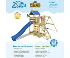 WICKEY Parco giochi da esterno MultiFlyer con altalena e sabbiera, scivolo blu + telone blu