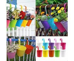 KING DO WAY Vaso Pensile in Metallo per Fiori e Piante, Vasi appesi per Fiori da Giardino / Balcone, Colori Diversi(10 Pezzi)