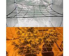 Xhong, rete di supporto per piante a graticcio con 4 ganci in acciaio, 36 spazi per la coltivazione di fiori e piante rampicanti, rete per piante rampicanti, 1,8 x 0,9 m