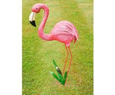 Grande fenicottero rosa in metallo, ornamento da laghetto o da giardino e per la casa