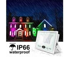 Olafus 2 Pezzi 35W Faretto LED RGB da Esterno 16 Colori e 4 Modalità Funzione di Memoria Dimmerabile con Telecomando Proiettore LED Colorato IP66 Impermeabile Per Natale Festa Party