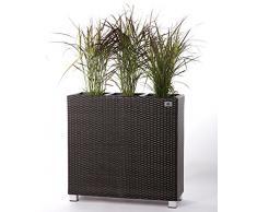 Gartenfreude Secchio per pianta da Giardino in polyrattan con Piedi in Alluminio e 3 Elementi in plastica per Interno ed Esterno, Marrone Bicolor, 76 x 26 x 73 cm (AxLxP)