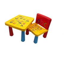 XIAOTAIN I Bambini Tavolo Presidente Set con la Tabella + 1PCS Sedie, Alfabeto Learn & Play,