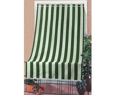 Corredocasa Tenda da Sole a Righe per Esterno Balcone Veranda Terrazzo terrazzino casa con Anelli e Ganci Tessuto Resistente da Esterno cm 140x250 (Verde)