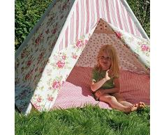 HAB & GUT ( ZK001 ) Tenda da gioco ROSE cotone, tipi, colore : rosa / rosso / bianco , 135 centimetri di altezza Ø 180 cm (variabile) per interni