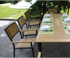 Tavolo da giardino rettangolare Moia-RTT_62 Vigo Moia in Teak e alluminio nero Misure L 150/210 cm - A 74 cm - P 90 cm
