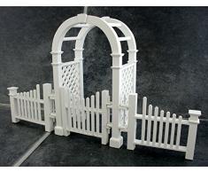 Miniatura Per Casa Delle Bambole Mobili Da Giardino In Legno Bianco Arbour con cancello & Ostacoli
