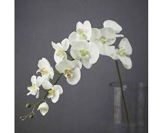 Livedealing - Orchidea Artificiale, 11 testine, Decorazione per la casa, Fiori in Lattice, Fiori realistici al Tatto Bianco