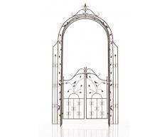 CLP Arco per Rampicanti Grenada con Cancello – Arco Pergolato Fiori e Piante Rampicanti da Giardino Rustico – Supporto per Piante in Ferro – Passaggio (AxL): 235x100cm Marrone Antico