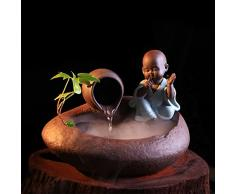 DHJUST Ceramica Desktop creativo decorazione Feng Shui Fontana cinese ruota di acqua umidificatore