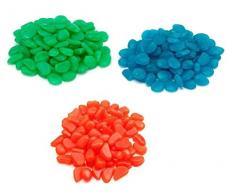 Sassolini Luminosi Pack 100 pz Pietre Fluorescenti Decorazione Acquario Giardino Esterno 3 Colori Fair ShopOnline