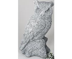 Moderna scultura giardino oggetto decorativo gufo in ceramica pietra colori altezza 44 cm