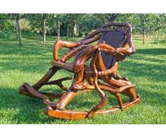 Sedia a dondolo/un unico Massive sedia a dondolo, fatto a mano in legno naturale di radici e materiali/sedia/poltrona/rilassante sedia a dondolo da giardino in legno/mobili da giardino/divano/radici scultura