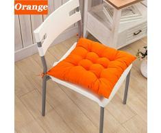 Cuscino in cotone spesso stile casual per sedia, divano, ufficio, casa, giardino, scuola, tatami, picnic, campeggio, pesca, Tessuto, Orange, 1 pezzo