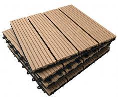 36 piastrelle a incastro per pavimenti, in legno composito - teak a scatto per patio, giardino, balcone, vasca idromassaggio, con pannelli quadrati da 30 cm