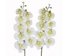 takestop® Ramo Orchidea Phalaenopsis Artificiale Finto RAMETTO Fiori Chiusi Decorazioni COMPOSIZIONI Floreale Matrimonio CIMITERO Funerale (Bianco)