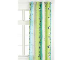 Linder 0206/80/49807/375FR - Tenda con motivo zebra per bambini, munita di occhielli, 135 x 260 cm, colore anice e turchese