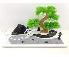 Bonseki® Giardino Zen Miniatura da Tavolo Rettangolare 40 x 20 cm con Buddha, Bonsai e Laghetto in Resina. Personalizzabile. Scopri le Opzioni.