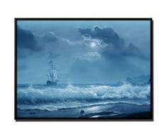 105 x 75 cm quadro - colore Blu Petrol - su Tela inkusive ombra fughe telaio Nero - pittura ad olio vela barca onde