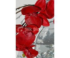 Orchidea Phalaenopsis artificiale in vaso, colore: rosso con motivo floreale