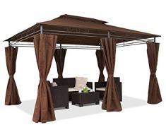 Garden Point Gazebo da Giardino Ibiza | 300 x 400 cm | Rettangolare | Idrorepellente | Ideale per i mobili da Giardino e Lo Jacuzzi | Montaggio Facile| Tende in Set | Marrone