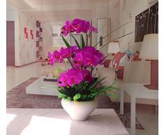 SituMi Fiori artificiali orchidee filatura della seta vasi di plastica Home Decor con composizioni floreali, Viola, Pu vasi di ceramica