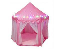 VALINK Tenda Gioco con Luci LED Luminoso Pieghevole Principessa Bambino Castello Casa Portatile Giocattoli AllAperto Sfera Regalo per - Rosa