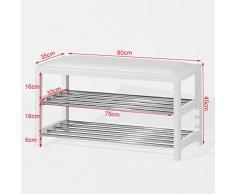 SoBuy® Scarpiera con cuscino , Panchina Ingresso,Portascarpe,bianco,FSR21-W,IT
