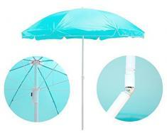 Premium regolabile in altezza ombrello parasole (Ø 160 cm) con giuntura – Sole per balcone e giardino Ombrellone Mare ombrellone da balcone protezione sole rotondo Giunto – Turchese Blu/Acquamarina