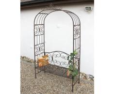 Arco di rose con panca 120852 in metallo 250cm Panca da giardino Spalliera Pergola Aiuto-arrampicata