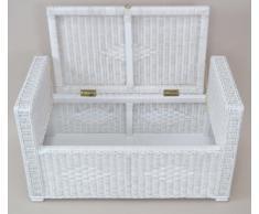 moebel direkt online Petto di seduta In rattan con Contenitore Cassapanca con raccordo Cuscino Tessuti a mano cassapanca con cuscino In 3 Colori disponibile - bianco, 51x90x45