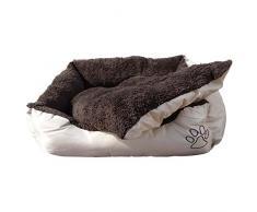 Cuccia per animali lavabile con cuscino di peluche, per cani, gatti e animali domestici Misura xl - 90 x 70 x 20 cm Esterno beige, con borsa
